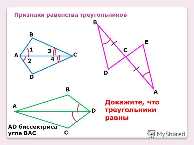 Признаки равенства треугольников D C B A 4 2 3 1 C B E D A C D B A AD биссектриса угла BAC Докажите, что треугольники равны