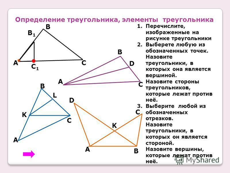Определение треугольника, элементы треугольника A B C B1B1 C1C1 1.Перечислите, изображенные на рисунке треугольники 2. Выберете любую из обозначенных точек. Назовите треугольники, в которых она является вершиной. Назовите стороны треугольников, котор
