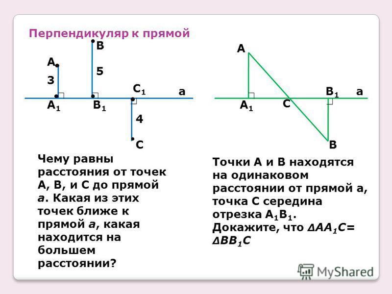 Перпендикуляр к прямой A1A1 3 A 5 B1B1 4 B C1C1 C a Чему равны расстояния от точек A, B, и C до прямой a. Какая из этих точек ближе к прямой a, какая находится на большем расстоянии? a A A1A1 B1B1 B C Точки A и B находятся на одинаковом расстоянии от