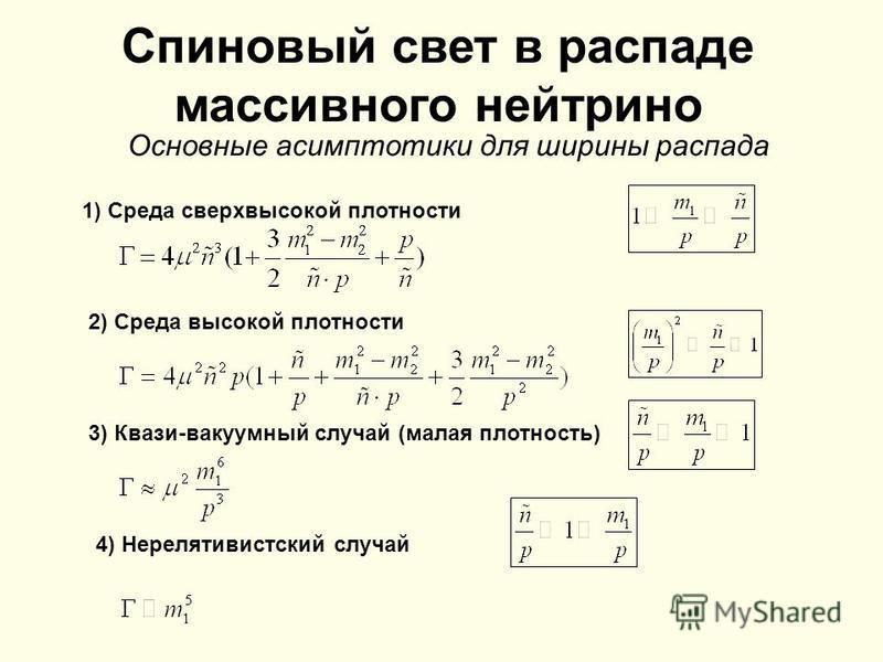 1) Среда сверхвысокой плотности 2) Среда высокой плотности 3) Квази-вакуумный случай (малая плотность) 4) Нерелятивистский случай Спиновый свет в распаде массивного нейтрино Основные асимптотики для ширины распада