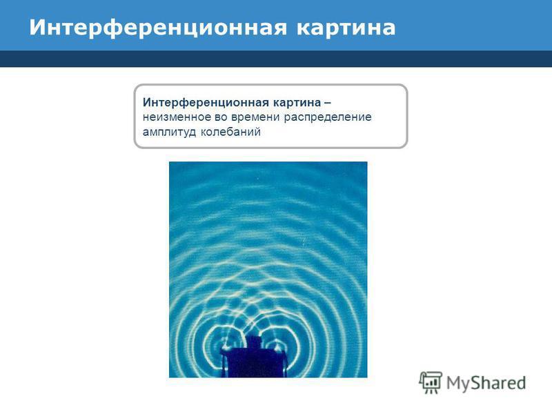 Интерференционная картина Интерференционная картина – неизменное во времени распределение амплитуд колебаний