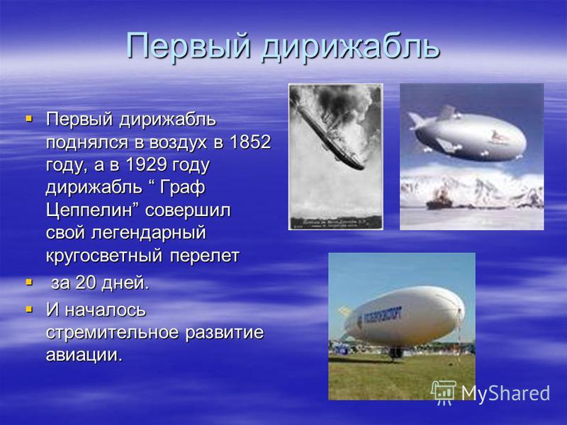 Первый дирижабль Первый дирижабль поднялся в воздух в 1852 году, а в 1929 году дирижабль Граф Цеппелин совершил свой легендарный кругосветный перелет Первый дирижабль поднялся в воздух в 1852 году, а в 1929 году дирижабль Граф Цеппелин совершил свой