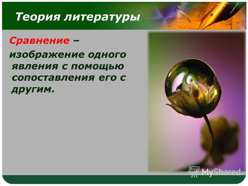 Теория литературы Сравнение – изображение одного явления с помощью сопоставления его с другим.