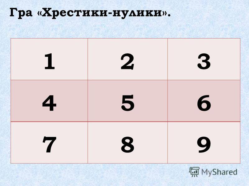 Гра «Хрестики-нулики». 123 456 789