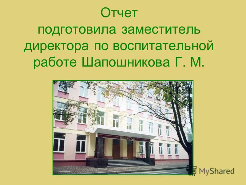 Отчет подготовила заместитель директора по воспитательной работе Шапошникова Г. М.