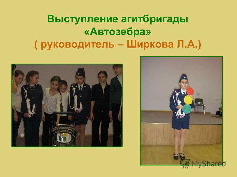 Выступление агитбригады «Автозебра» ( руководитель – Ширкова Л.А.)