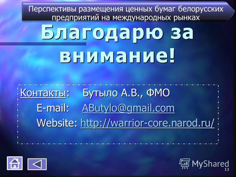 Благодарю за внимание! Контакты: Бутыло А.В., ФМО E-mail: AButylo@gmail.com E-mail: AButylo@gmail.comAButylo@gmail.com Website: http://warrior-core.narod.ru/ Website: http://warrior-core.narod.ru/http://warrior-core.narod.ru/ Перспективы размещения ц
