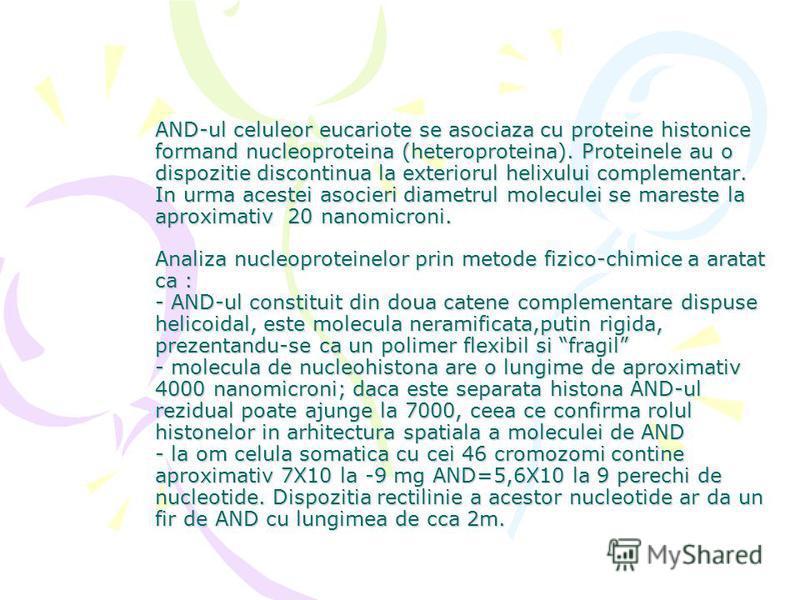 AND-ul celuleor eucariote se asociaza cu proteine histonice formand nucleoproteina (heteroproteina). Proteinele au o dispozitie discontinua la exteriorul helixului complementar. In urma acestei asocieri diametrul moleculei se mareste la aproximativ 2