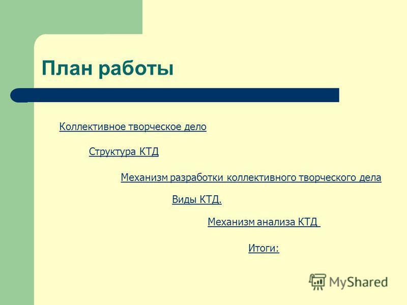 План работы Коллективное творческое дело Структура КТД Виды КТД. Механизм анализа КТД Механизм разработки коллективного творческого дела Итоги: