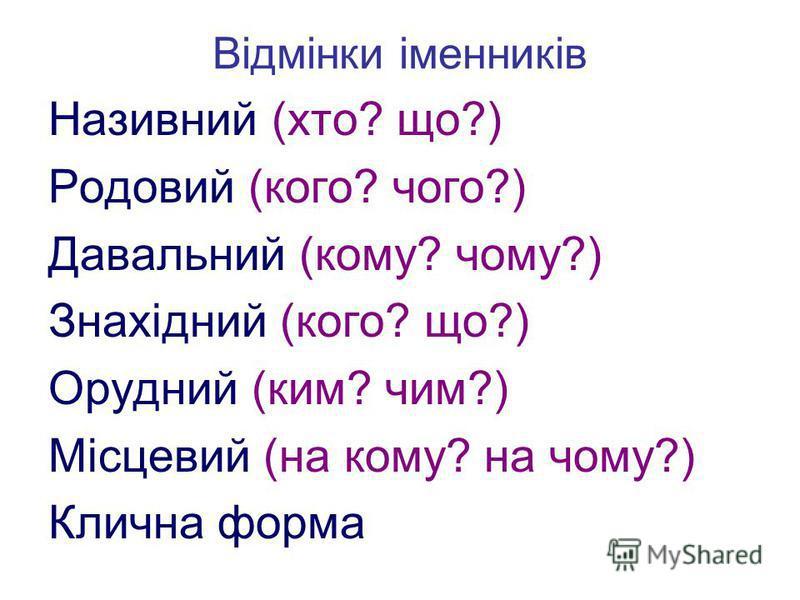 Відмінки іменників Називний (хто? що?) Родовий (кого? чого?) Давальний (кому? чому?) Знахідний (кого? що?) Орудний (ким? чим?) Місцевий (на кому? на чому?) Клична форма