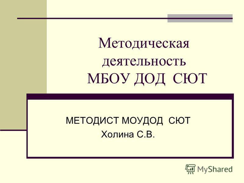Методическая деятельность МБОУ ДОД СЮТ МЕТОДИСТ МОУДОД СЮТ Холина С.В.