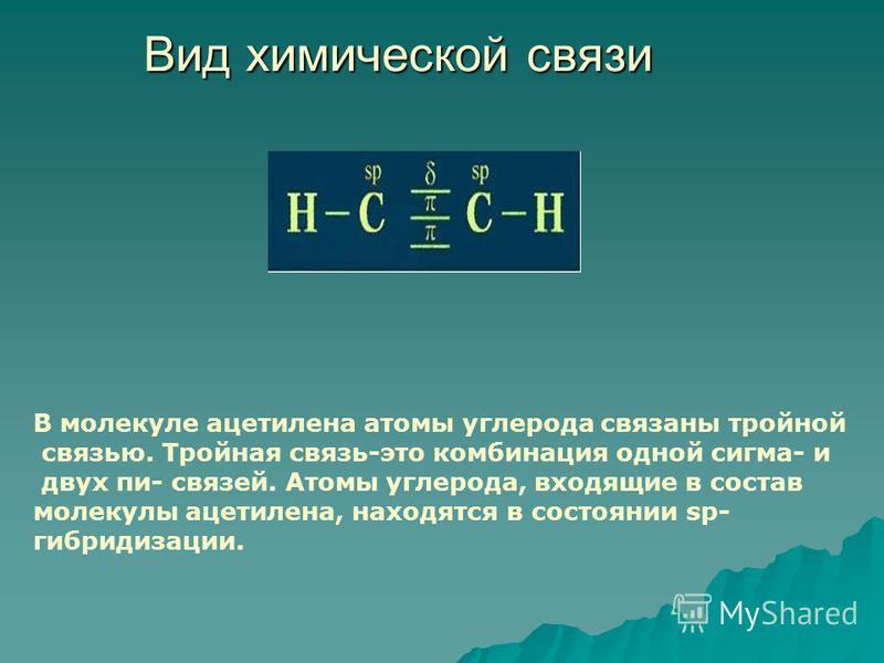 Вид химической связи В молекуле ацетилена атомы углерода связаны тройной связью. Тройная связь-это комбинация одной сигма- и двух пи- связей. Атомы углерода, входящие в состав молекулы ацетилена, находятся в состоянии sp- гибридизации.