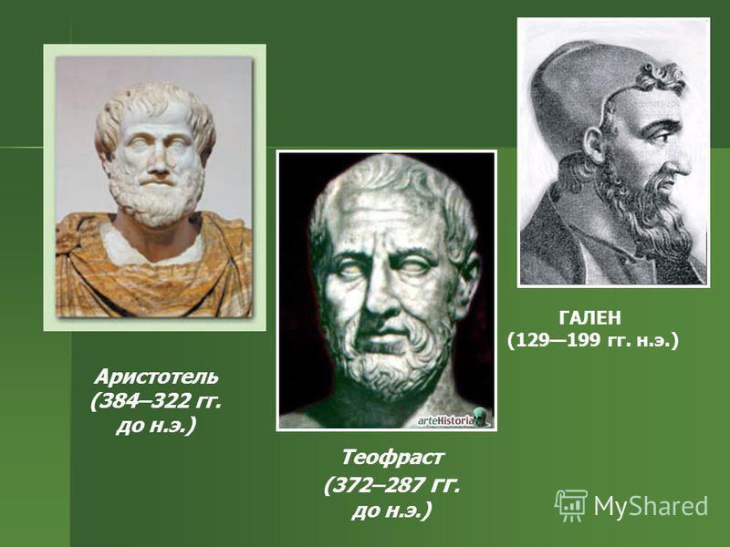 Аристотель (384–322 гг. до н.э.) ГАЛЕН (129199 гг. н.э.) Теофраст (372–287 гг. до н.э.)