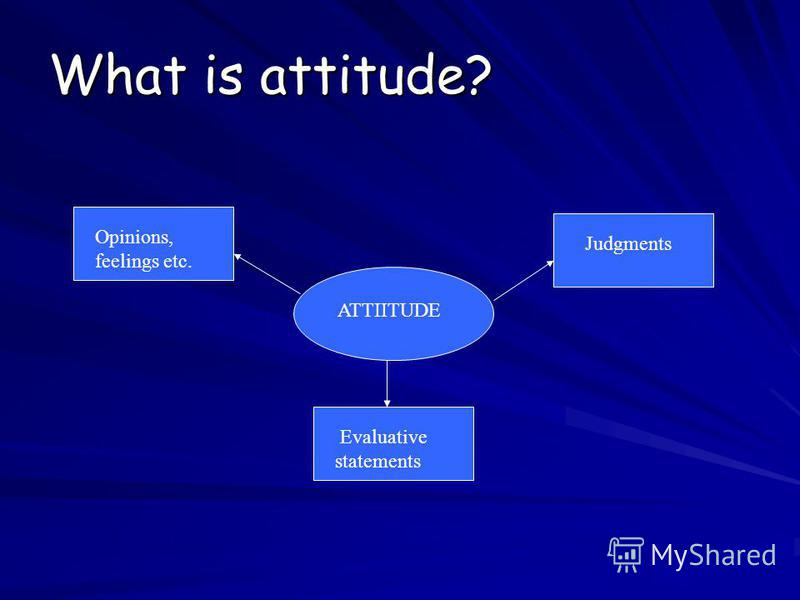 What is attitude? ATTIITUDE Evaluative statements Judgments Opinions, feelings etc.