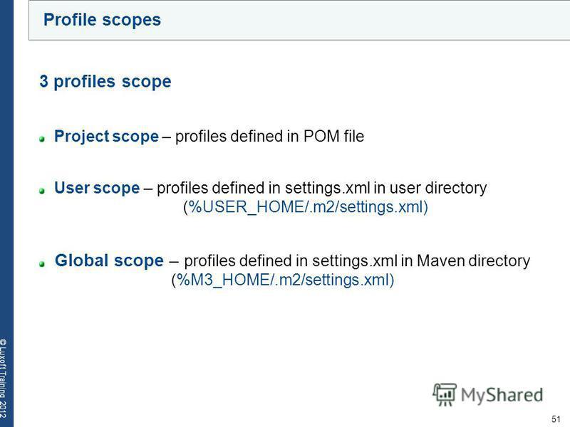 51 © Luxoft Training 2012 Profile scopes 3 profiles scope Project scope – profiles defined in POM file User scope – profiles defined in settings.xml in user directory (%USER_HOME/.m2/settings.xml) Global scope – profiles defined in settings.xml in Ma