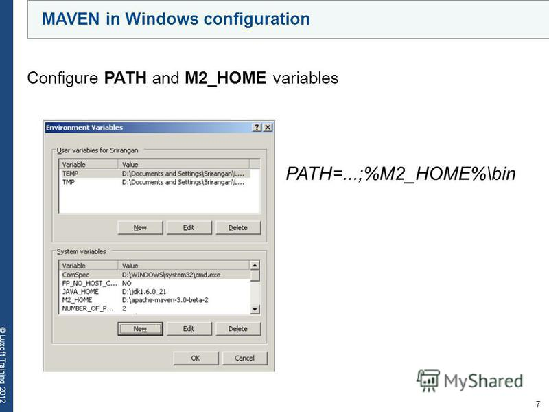 7 © Luxoft Training 2012 MAVEN in Windows configuration Configure PATH and M2_HOME variables PATH=...;%M2_HOME%\bin