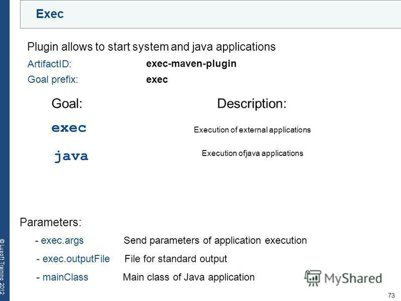 73 © Luxoft Training 2012 Exec Plugin allows to start system and java applications ArtifactID: Goal prefix:exec exec-maven-plugin Parameters: - exec.args Send parameters of application execution - exec.outputFile File for standard output - mainClass