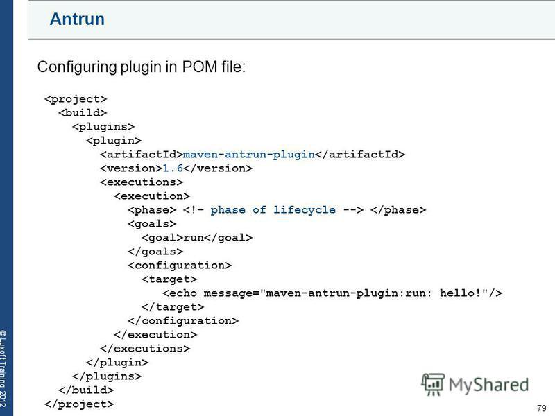 79 © Luxoft Training 2012 Antrun maven-antrun-plugin 1.6 run Configuring plugin in POM file: