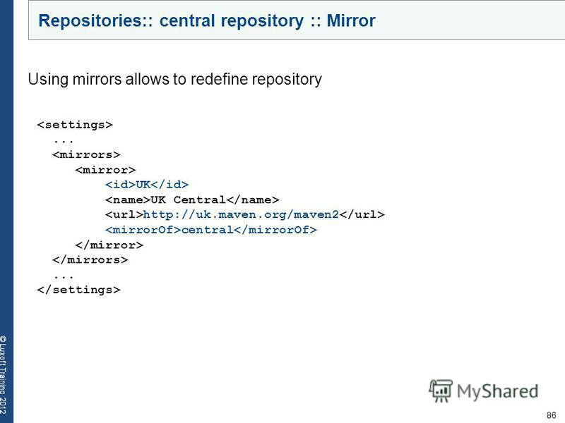 86 © Luxoft Training 2012... UK UK Central http://uk.maven.org/maven2 central... Using mirrors allows to redefine repository Repositories:: central repository :: Mirror
