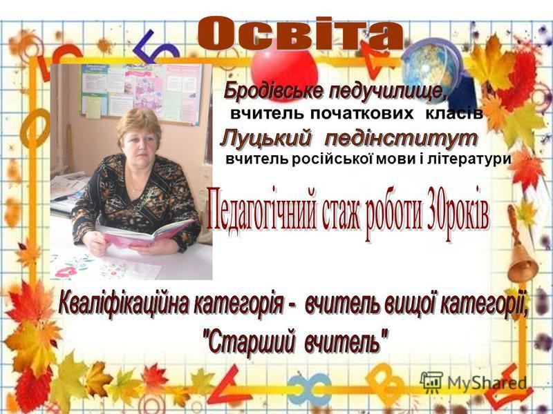 вчитель початкових класів вчитель російської мови і літератури