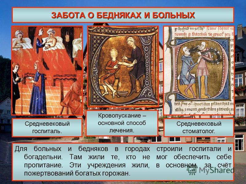 ЗАБОТА О БЕДНЯКАХ И БОЛЬНЫХ Для больных и бедняков в городах строили госпитали и богадельни. Там жили те, кто не мог обеспечить себе пропитание. Эти учреждения жили, в основном, за счёт пожертвований богатых горожан. Средневековый госпиталь. Кровопус