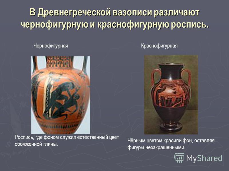В Древнегреческой вазописи различают чернофигурную и краснофигурную роспись. Роспись, где фоном служил естественный цвет обожженной глины. Чернофигурная Чёрным цветом красили фон, оставляя фигуры незакрашенными. Краснофигурная