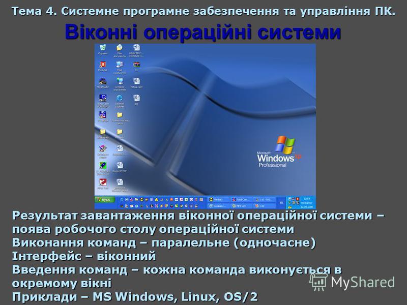 Віконні операційні системи Тема 4. Системне програмне забезпечення та управління ПК. Результат завантаження віконної операційної системи – поява робочого столу операційної системи Виконання команд – паралельне (одночасне) Інтерфейс – віконний Введенн
