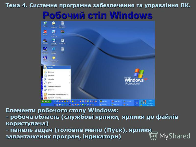 Робочий стіл Windows Тема 4. Системне програмне забезпечення та управління ПК. Елементи робочого столу Windows: - робоча область (службові ярлики, ярлики до файлів користувача) - панель задач (головне меню (Пуск), ярлики завантажених програм, індикат