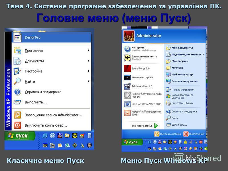 Головне меню (меню Пуск) Тема 4. Системне програмне забезпечення та управління ПК. Класичне меню Пуск Меню Пуск Windows XP