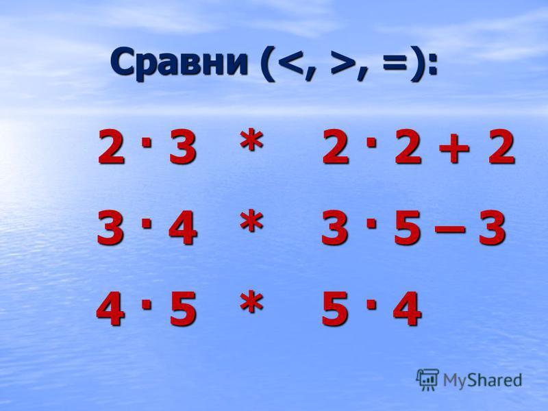 Сравни (, =): 2 · 3 * 2 · 2 + 2 3 · 4 * 3 · 5 – 3 4 · 5 * 5 · 4