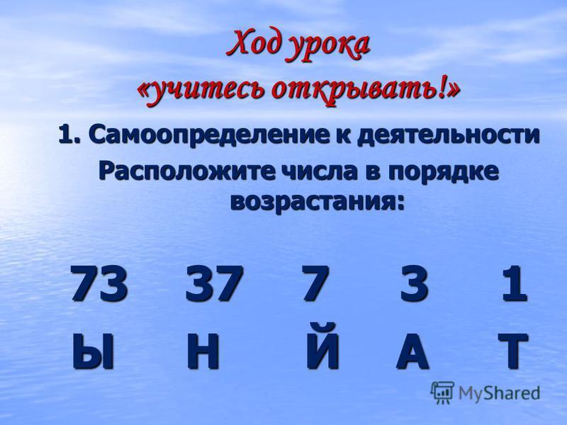Ход урока «учитесь открывать!» 1. Самоопределение к деятельности Расположите числа в порядке возрастания: 73 37 7 3 1 Ы Н Й А Т