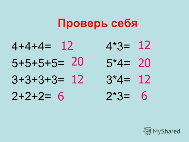 Проверь себя 4+4+4= 4*3= 5+5+5+5= 5*4= 3+3+3+3= 3*4= 2+2+2= 2*3= 12 20 12 6 20 12 6