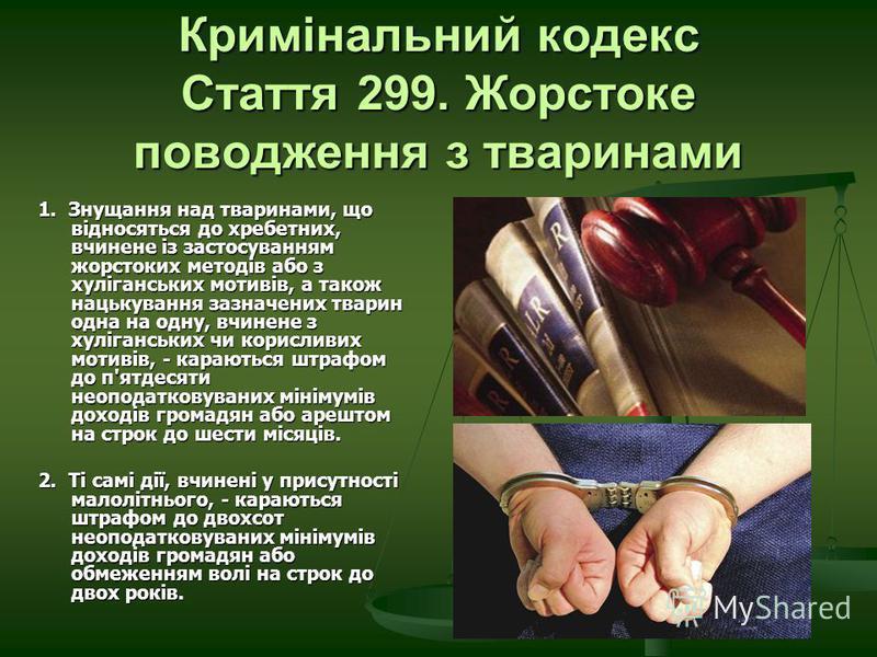 Кримінальний кодекс Стаття 299. Жорстоке поводження з тваринами 1. Знущання над тваринами, що відносяться до хребетних, вчинене із застосуванням жорстоких методів або з хуліганських мотивів, а також нацькування зазначених тварин одна на одну, вчинене