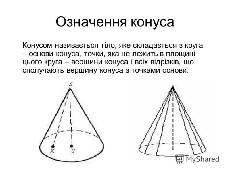 Означення конуса Конусом називається тіло, яке складається з круга – основи конуса, точки, яка не лежить в площині цього круга – вершини конуса і всіх відрізків, що сполучають вершину конуса з точками основи.