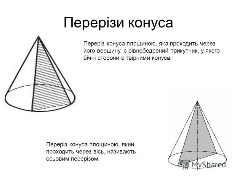 Переріз конуса площиною, яка проходить через його вершину, є рівнобедрений трикутник, у якого бічні сторони є твірними конуса. Переріз конуса площиною, який проходить через вісь, називають осьовим перерізом.
