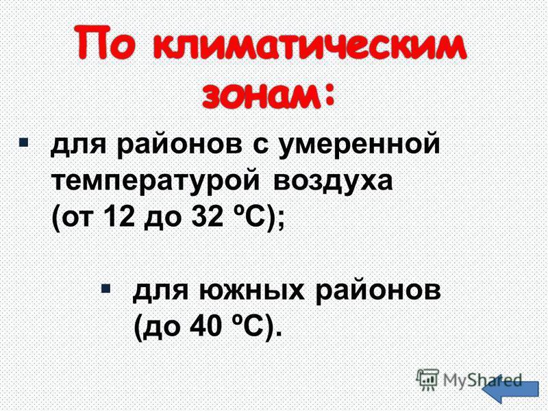 для районов с умеренной температурой воздуха (от 12 до 32 ºС); для южных районов (до 40 ºС).