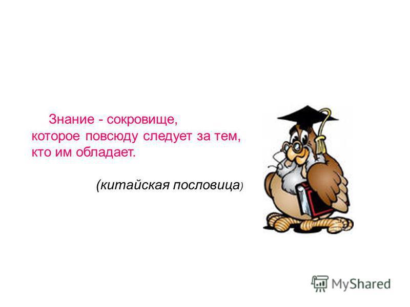 Знание - сокровище, которое повсюду следует за тем, кто им обладает. (китайская пословица )