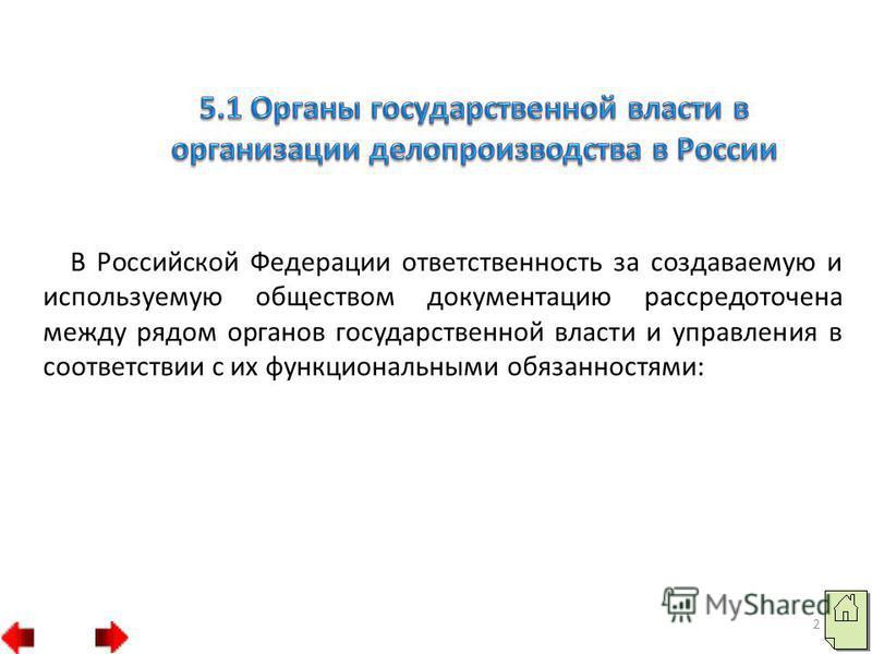В Российской Федерации ответственность за создаваемую и используемую обществом документацию рассредоточена между рядом органов государственной власти и управления в соответствии с их функциональными обязанностями: 2