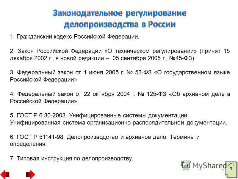 1. Гражданский кодекс Российской Федерации. 2. Закон Российской Федерации «О техническом регулировании» (принят 15 декабря 2002 г., в новой редакции – 05 сентября 2005 г., 45-ФЗ) 3. Федеральный закон от 1 июня 2005 г. 53-ФЗ «О государственном языке Р