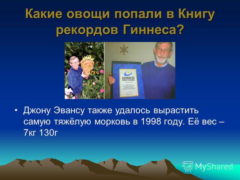 Какие овощи попали в Книгу рекордов Гиннеса? Джону Эвансу также удалось вырастить самую тяжёлую морковь в 1998 году. Её вес – 7 кг 130 г