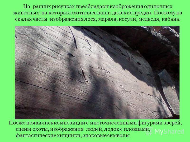На ранних рисунках преобладают изображения одиночных животных, на которых охотились наши далёкие предки. Поэтому на скалах часты изображения лося, марала, косули, медведя, кабана. Позже появились композиции с многочисленными фигурами зверей, сцены ох