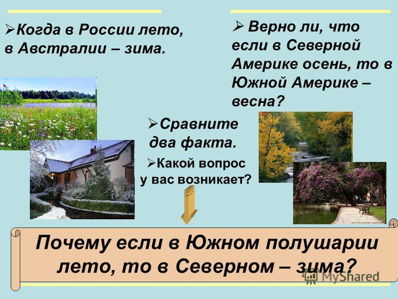 Когда в России лето, в Австралии – зима. Какой вопрос у вас возникает? Почему если в Южном полушарии лето, то в Северном – зима? Верно ли, что если в Северной Америке осень, то в Южной Америке – весна? Сравните два факта.