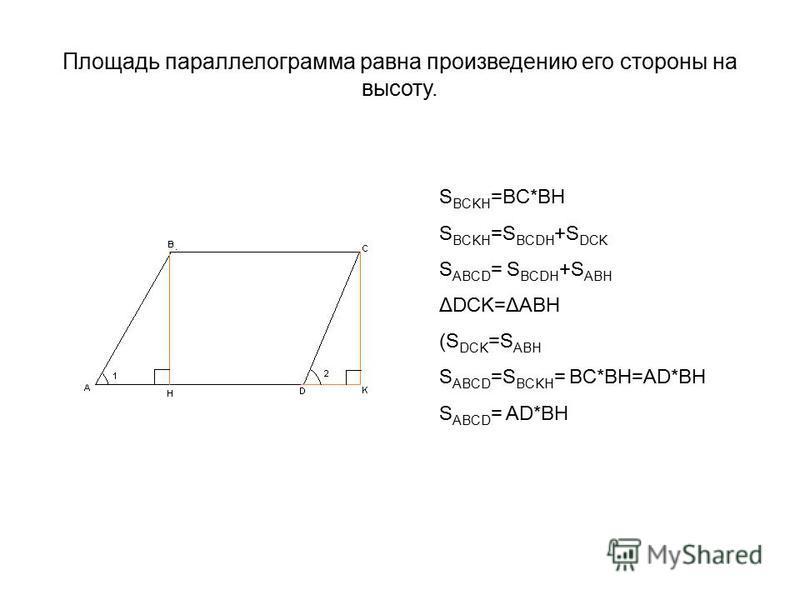 Площадь параллелограмма равна произведению его стороны на высоту. S BCKH =BC*BH S BCKH =S BCDH +S DCK S ABCD = S BCDH +S ABH ΔDCK=ΔABH (S DCK =S ABH S ABCD =S BCKH = BC*BH=AD*BH S ABCD = AD*BH