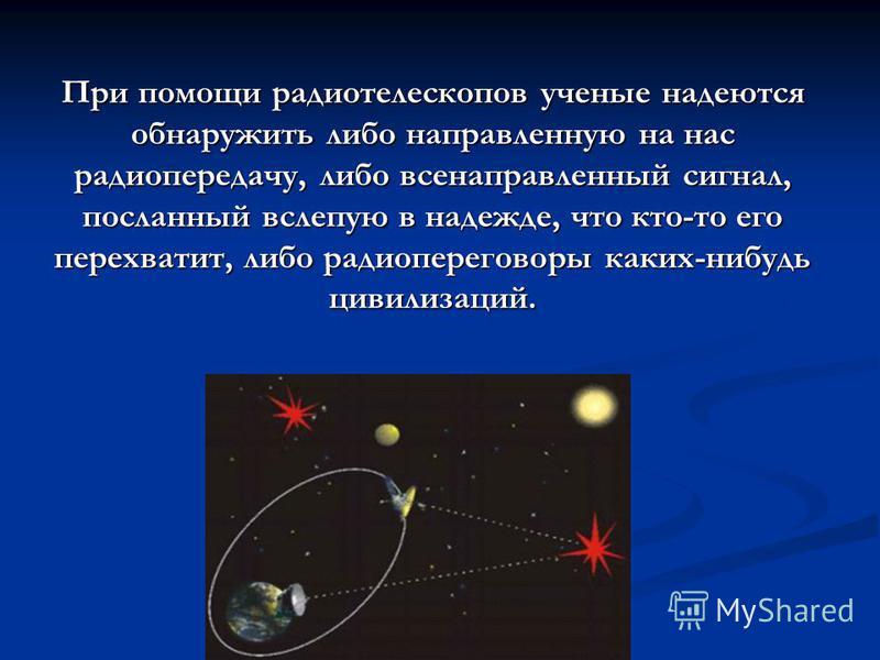 Главный метод поиска, применявшийся до сих пор- это прослушивание космоса в радиодиапазоне.