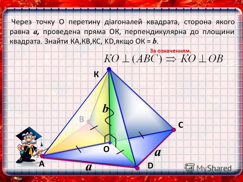 В К O С Через точку О перетину діагоналей квадрата, сторона якого равна a, проведена пряма ОК, перпендикулярна до площини квадрата. Знайти КА,КВ,КС, KD,якщо ОК = b. За означенням. А D a b a