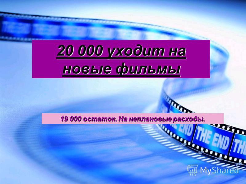 20 000 уходит на новые фильмы 19 000 остаток. На неплановые расходы.