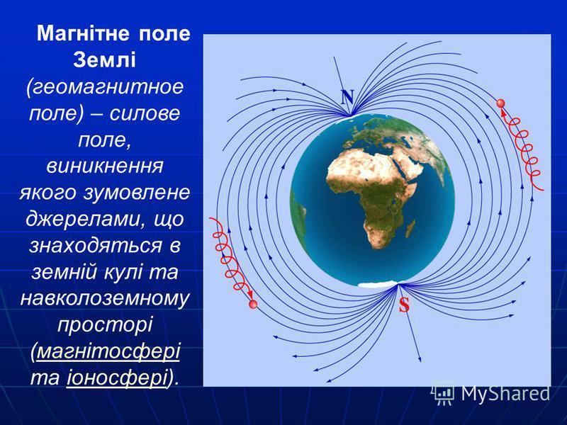 Магнітне поле Землі (геомагнитное поле) – силове поле, виникнення якого зумовлене джерелами, що знаходяться в земній кулі та навколоземному просторі (магнітосфері та іоносфері).магнітосферііоносфері