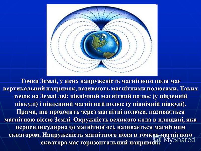 Точки Землі, у яких напруженість магнітного поля має вертикальний напрямок, називають магнітними полюсами. Таких точок на Землі дві: північний магнітний полюс (у південній півкулі) і південний магнітний полюс (у північній півкулі). Пряма, що проходит