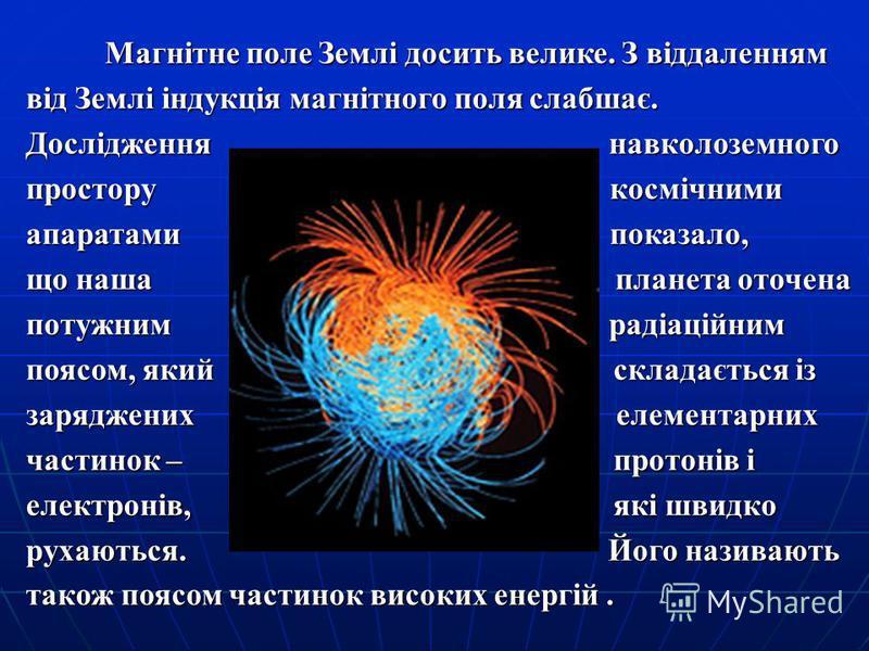 Магнітне поле Землі досить велике. З віддаленням від Землі індукція магнітного поля слабшає. Магнітне поле Землі досить велике. З віддаленням від Землі індукція магнітного поля слабшає. Дослідження навколоземного простору космічними апаратами показал