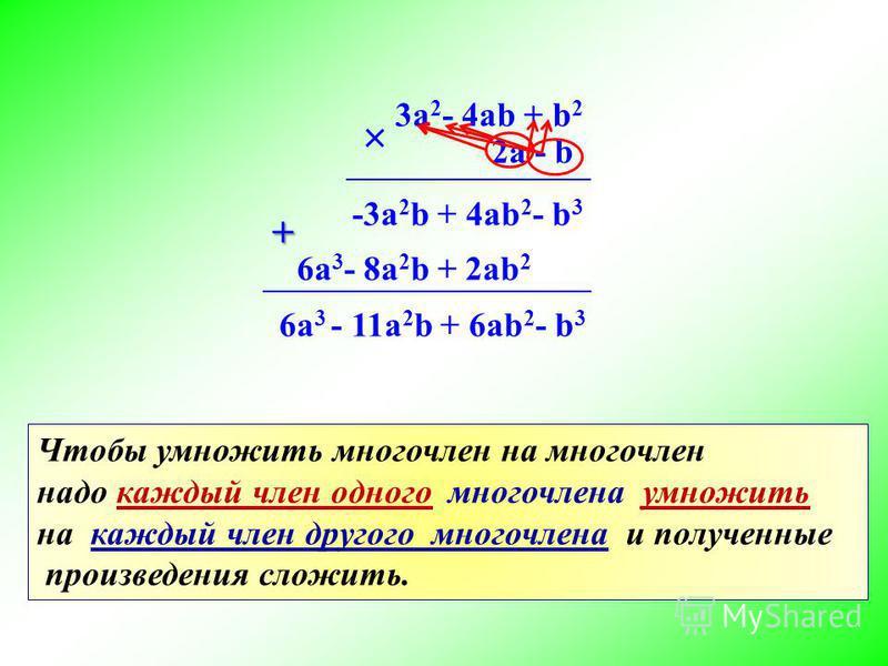3a 2 - 4ab + b 2 2a - b + -3a 2 b + 4ab 2 - b 3 + 6a 3 - 8a 2 b + 2ab 2 6a 3 - 11a 2 b + 6ab 2 - b 3 Чтобы умножить многочлен на многочлен надо каждый член одного многочлена умножить на каждый член другого многочлена и полученные произведения сложить